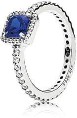 Pandora Svetleč srebrn prstan z modrim kristalom 190947NBT srebro 925/1000