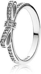 Pandora Trblietavý prsteň s mašličkou 190906CZ striebro 925/1000