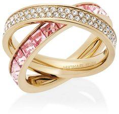 Michael Kors Dupla aranyozott gyűrű kristályokkal MKJ5419710
