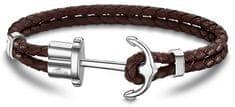 Lotus Style Barna színű bőr karkötő horgony csattal LS1881-2/4