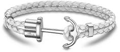 Lotus Style Fehér szíbnű bőr karkötő horgony csattal LS1881-2/1