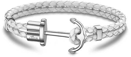 Lotus Style Bílý kožený náramek s kotvou LS1881-2/1