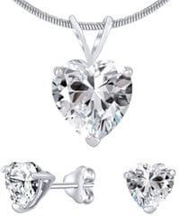 Silvego Stříbrný set šperků s čirým křišťálem JJJHEART01 (náušnice, přívěsek) stříbro 925/1000
