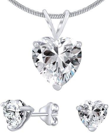 Silvego Ezüst ékszer szett színtiszta kristállyal JJJHEART01 (fülbevaló, medál) ezüst 925/1000