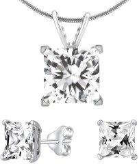 Silvego Stříbrný set šperků s čirým křišťálem JJJSQ55 (náušnice, přívěsek) stříbro 925/1000
