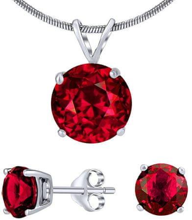 Silvego Ezüst ékszer szett piros kristállyal JJJS7RR1 (fülbevaló, medál) ezüst 925/1000