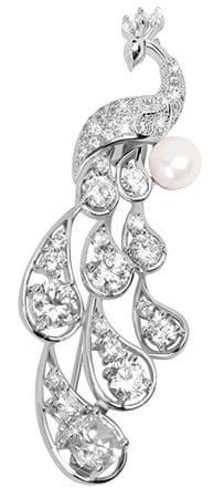 JwL Luxury Pearls Elegancki pawiczny paw z prawą perłą i kryształami JL0390