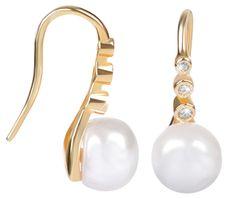 JwL Luxury Pearls Aranyozott függő ezüst fülbevaló igazgyönggyel JL0411 ezüst 925/1000