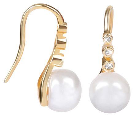 JwL Luxury Pearls Pozlačeni srebrni uhani s pravim biserom JL0411 srebro 925/1000