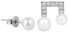 JwL Luxury Pearls Asymetrické perlové náušnice so zirkónmi JL0415 striebro 925/1000