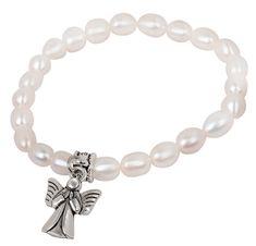 JwL Luxury Pearls Jemný náramok z pravých perál s kovovým anjelikom JL0418
