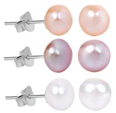 JwL Luxury Pearls 3 pár gyöngy fülbevaló kedvezményes készlet - fehér, lazac, lila JL0426 ezüst 925/1000