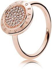 Pandora Brązowy pierścionek z błyszczącymi kamieniami srebro 925/1000