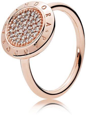 Pandora Brązowy pierścionek z błyszczącymi kamieniami (obwód 50 mm) srebro 925/1000