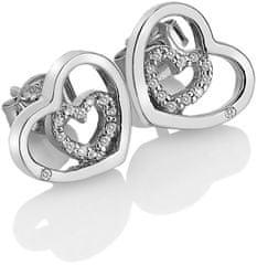 Hot Diamonds Strieborné srdiečkové náušnice Adorable Encased DE548 striebro 925/1000