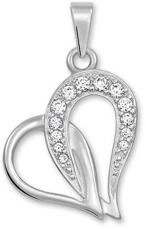 Brilio Obesek za srce s kristali 249 001 00472 07 Belo zlato 585/1000