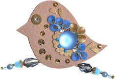 Petra Švarcová Hnědá brož s modrými kameny Pták