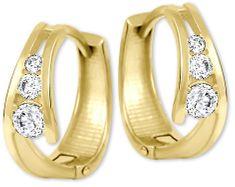 Brilio Zlaté náušnice kroužky s krystaly 239 001 00800 zlato žluté 585/1000