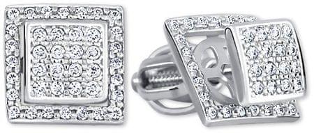 Brilio Uhani iz kvadrata iz prozornih kristalov 2in1 239 001 00861 07 Belo zlato 585/1000