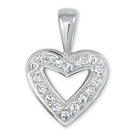 cb9e55229 Prívesok z bieleho zlata Srdce s kryštálmi 249 001 00106 07 - 0,70 g ...