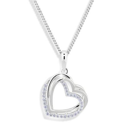 Modesi Srdiečkový náhrdelník so zirkónmi M43059 (retiazka, prívesok) striebro 925/1000