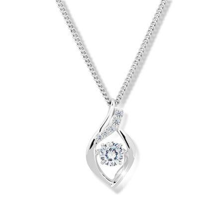 Modesi Piękny naszyjnik z kryształem i cyrkonie M43066 srebro 925/1000