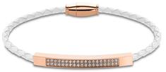 Lotus Style Fehér bőr karkötő kristályokkal LS2004-2/1