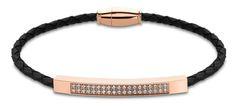 Lotus Style Černý kožený náramek s krystaly LS2004-2/6