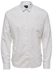 ONLY&SONS Pánska košeľa Otto Ls Ditsy Aop Shirt White