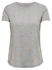 ONLY Damska koszulka Isabella S/S Rose s / Bown Top Box Jrs LightGrey Melange Bows1