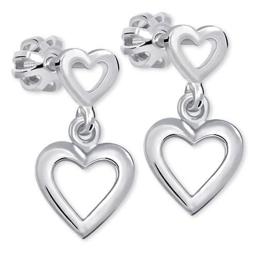 Brilio Silver Romantické náušnice zo striebra 431 001 02610 04 - 1,53 g striebro 925/1000