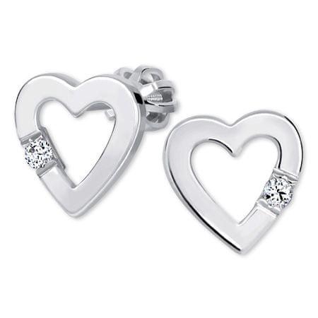 Brilio Silver Srčni uhani s kristalom 436 001 00418 04 srebro 925/1000