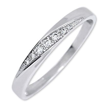 Brilio Lep prstan s kristali 229 001 00602 07 (Obseg 51 mm) Belo zlato 585/1000