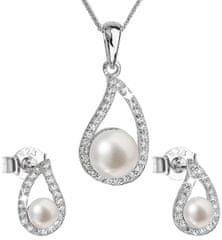 Evolution Group Luksuzni srebrni komplet s pravimi biseri Pavona 29027.1 (uhani, veriga, obesek) srebro 925/1000