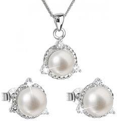 Evolution Group Luxusní stříbrná souprava s pravými perlami Pavona 29033.1 (náušnice, řetízek, přívěsek) stříbro 925/1000