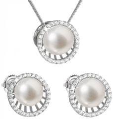 Evolution Group Luksuzni srebrni komplet s pravimi biseri Pavona 29034.1 (uhani, veriga, obesek) srebro 925/1000