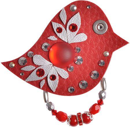 Petra Švarcová Czerwony ptak broszka