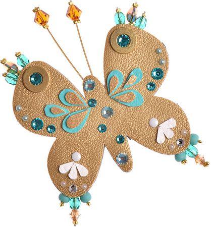 Petra Švarcová Złota broszka z motylimi koralikami
