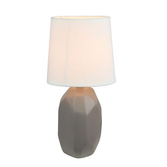 TEMPO KONDELA Keramická stolná lampa, sivohnedá taupe, QENNY TYP 3