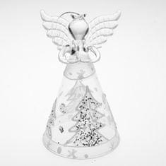 Seizis Skleněný anděl bílý se stromkem, 12cm, v blistru