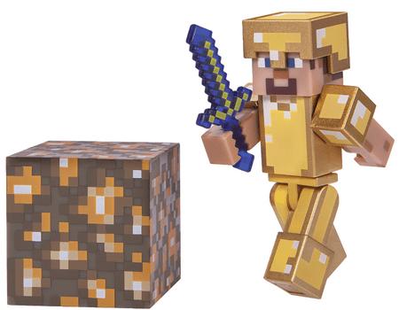TM Toys Minecraft - Steve gyűjthető figura arany páncélban