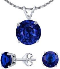 Silvego Stříbrný set šperků s tmavě modrým křišťálem JJJS8TM1 (náušnice, přívěsek) stříbro 925/1000