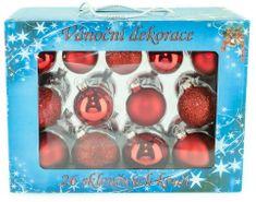 Seizis Set 26 skleněných koulí, mat/lesk 5-6,5 cm, červené