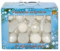 Seizis Set 26 skleněných koulí, mat/lesk 5-6,5 cm, bílé