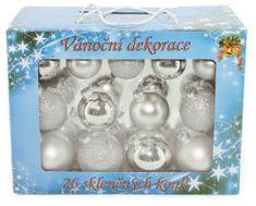 Seizis Set 26 skleněných koulí, mat/lesk 5-6,5 cm, stříbrné
