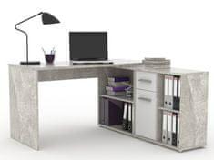 Rohový psací stůl DUKE 13, beton/bílá