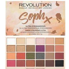 Makeup Revolution Paletka 24 očných tieňov SophX (Eyeshadow Palette) 26,4 g