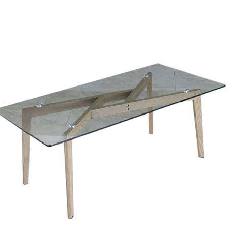 Konferenčný stolík, sklo/kov s úpravou buk, PEDREK Typ 2