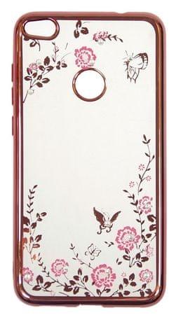 Silikonski ovitek z rožicami za Huawei P Smart, roza