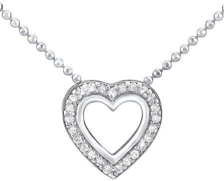 Silvego Stříbrný náhrdelník SRDCE ZTJ81045PVSW (řetízek, přívěsek) stříbro 925/1000